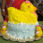 Baby shower cake- white cake with royal icing